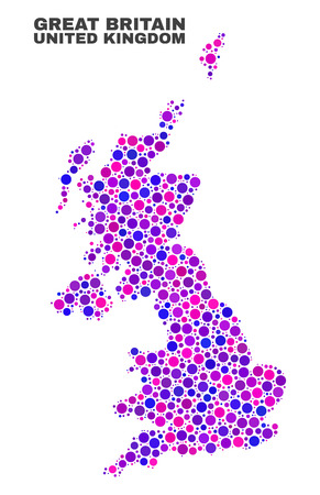 Mosaic United Kingdom map isolated on a white background. Vector geographic abstraction in pink and violet colors. Mosaic of United Kingdom map combined of scattered round elements.