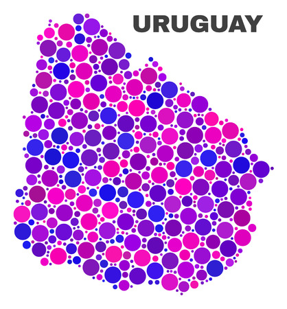 Mosaic Uruguay map isolated on a white background. Vector geographic abstraction in pink and violet colors. Mosaic of Uruguay map combined of random round dots.