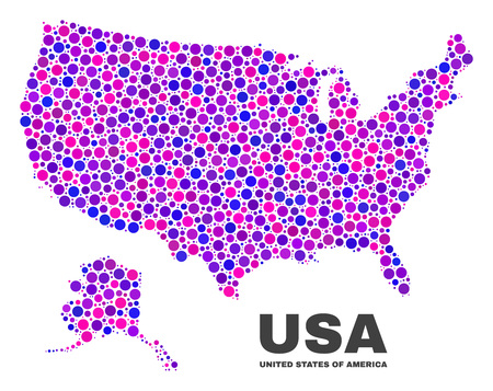 Mosaic USA with Alaska map isolated on a white background. Vector geographic abstraction in pink and violet colors. Mosaic of USA with Alaska map combined of scattered circle elements.