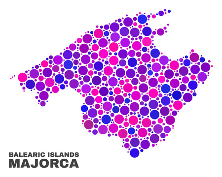 Mosaic Majorca map isolated on a white background. Vector geographic abstraction in pink and violet colors. Mosaic of Majorca map combined of scattered circle dots.