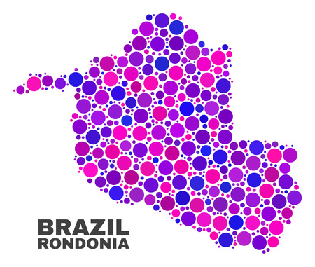 Mosaic Rondonia State map isolated on a white background. Vector geographic abstraction in pink and violet colors. Mosaic of Rondonia State map combined of scattered spheric points.