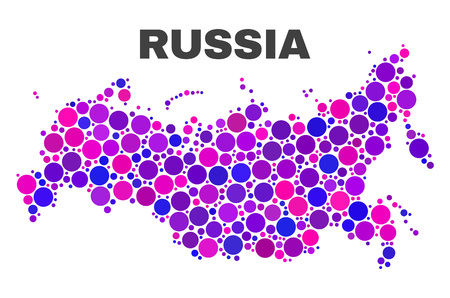 Mosaic Russia map isolated on a white background. Vector geographic abstraction in pink and violet colors. Mosaic of Russia map combined of random round elements. Imagens - 124711101