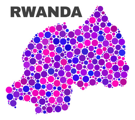 Mosaic Rwanda map isolated on a white background. Vector geographic abstraction in pink and violet colors. Mosaic of Rwanda map combined of scattered circle dots. Ilustração