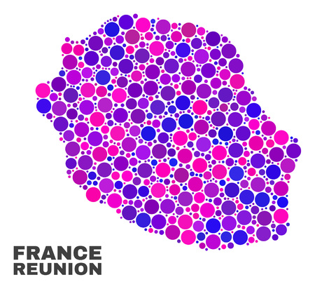 Mosaic Reunion Island map isolated on a white background. Vector geographic abstraction in pink and violet colors. Mosaic of Reunion Island map combined of scattered circle points.
