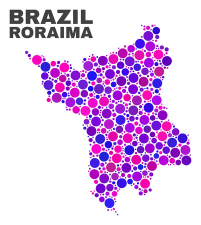 Mosaic Roraima State map isolated on a white background. Vector geographic abstraction in pink and violet colors. Mosaic of Roraima State map combined of random spheric dots.