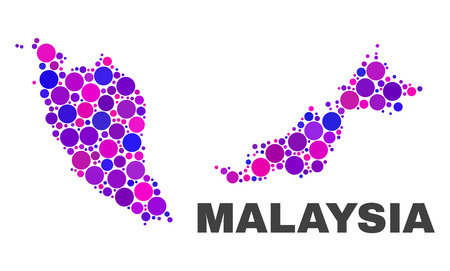 Mosaic Malaysia map isolated on a white background. Vector geographic abstraction in pink and violet colors. Mosaic of Malaysia map combined of scattered round elements.
