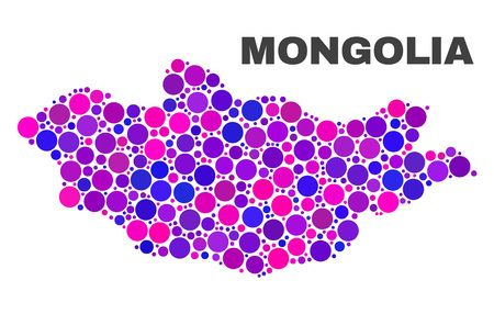 Mosaic Mongolia map isolated on a white background. Vector geographic abstraction in pink and violet colors. Mosaic of Mongolia map combined of random round elements.