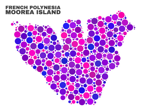 Mosaic Moorea Island map isolated on a white background. Vector geographic abstraction in pink and violet colors. Mosaic of Moorea Island map combined of scattered round items.