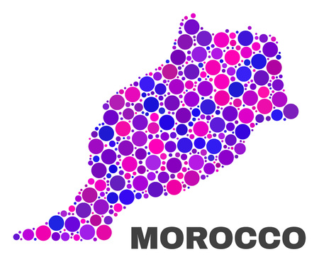 Mosaic Morocco map isolated on a white background. Vector geographic abstraction in pink and violet colors. Mosaic of Morocco map combined of scattered round points.