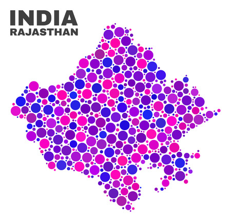 Mosaic Rajasthan State map isolated on a white background. Vector geographic abstraction in pink and violet colors. Mosaic of Rajasthan State map combined of random round points.