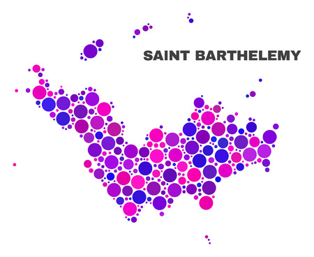 Mosaic Saint Barthelemy map isolated on a white background. Vector geographic abstraction in pink and violet colors. Mosaic of Saint Barthelemy map designed from random round elements.