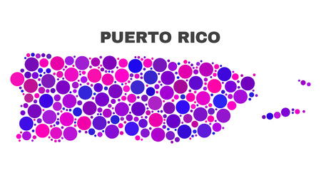 Mosaic Puerto Rico map isolated on a white background. Vector geographic abstraction in pink and violet colors. Mosaic of Puerto Rico map combined of scattered circle dots.