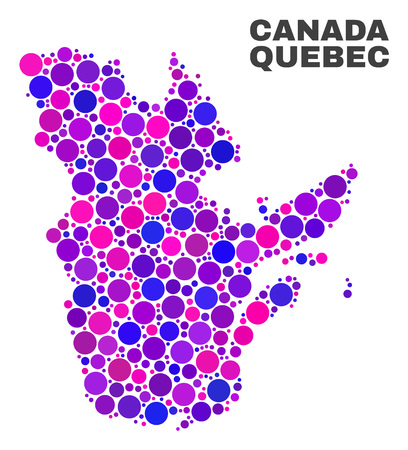 Mosaic Quebec Province map isolated on a white background. Vector geographic abstraction in pink and violet colors. Mosaic of Quebec Province map combined of random spheric elements. 일러스트