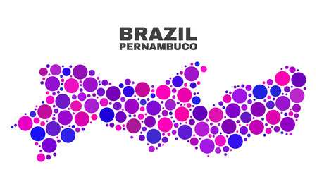 Mosaic Pernambuco State map isolated on a white background. Vector geographic abstraction in pink and violet colors. Mosaic of Pernambuco State map combined of random spheric points.