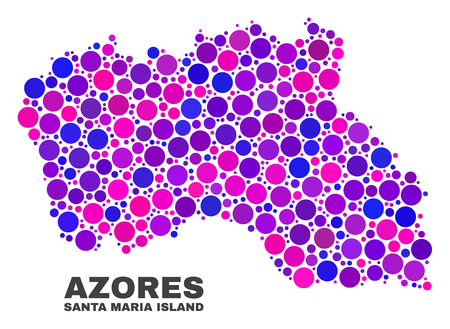 Mosaic Santa Maria Island map isolated on a white background. Vector geographic abstraction in pink and violet colors. Mosaic of Santa Maria Island map combined of random circle points.
