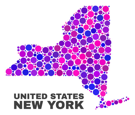 Mosaic New York State map isolated on a white background. Vector geographic abstraction in pink and violet colors. Mosaic of New York State map combined of scattered round elements.