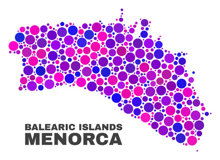 Mosaic Menorca Island map isolated on a white background. Vector geographic abstraction in pink and violet colors. Mosaic of Menorca Island map combined of random round items.