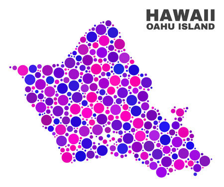 Mosaic Oahu Island map isolated on a white background. Vector geographic abstraction in pink and violet colors. Mosaic of Oahu Island map combined of scattered circle dots.