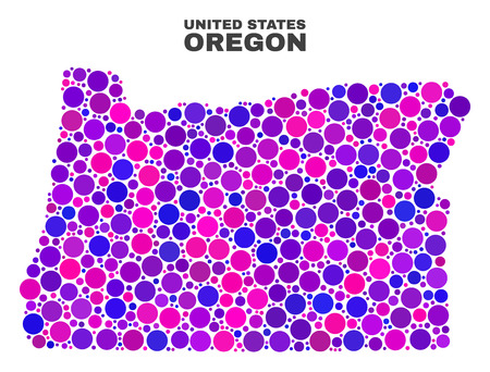 Mosaic Oregon State map isolated on a white background. Vector geographic abstraction in pink and violet colors. Mosaic of Oregon State map combined of scattered spheric items.
