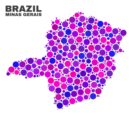 Mosaic Minas Gerais State map isolated on a white background. Vector geographic abstraction in pink and violet colors. Mosaic of Minas Gerais State map combined of random round elements.