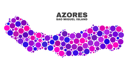 Mosaic Sao Miguel Island map isolated on a white background. Vector geographic abstraction in pink and violet colors. Mosaic of Sao Miguel Island map designed from scattered round items.