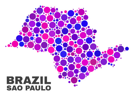 Mosaic Sao Paulo State map isolated on a white background. Vector geographic abstraction in pink and violet colors. Mosaic of Sao Paulo State map combined of random circle dots. Illustration