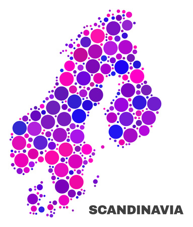 Mosaic Scandinavia map isolated on a white background. Vector geographic abstraction in pink and violet colors. Mosaic of Scandinavia map combined of random spheric elements.  イラスト・ベクター素材