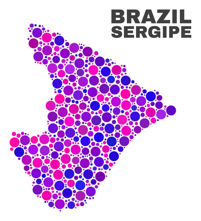 Mosaic Sergipe State map isolated on a white background. Vector geographic abstraction in pink and violet colors. Mosaic of Sergipe State map combined of random spheric elements.