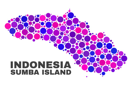 Mosaic Sumba Island map isolated on a white background. Vector geographic abstraction in pink and violet colors. Mosaic of Sumba Island map combined of random circle points. Ilustração
