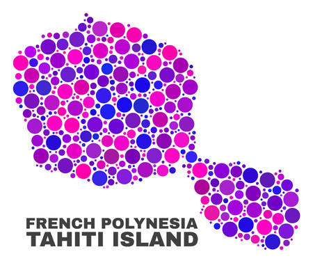 Mosaic Tahiti Island map isolated on a white background. Vector geographic abstraction in pink and violet colors. Mosaic of Tahiti Island map combined of random spheric elements.  イラスト・ベクター素材