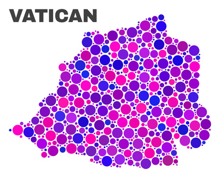 Mosaic Vatican map isolated on a white background. Vector geographic abstraction in pink and violet colors. Mosaic of Vatican map combined of random spheric points.