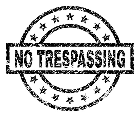 NO TRESPASSING stamp seal watermark with distress style. Designed with rectangle, circles and stars. Black vector rubber print of NO TRESPASSING tag with retro texture.