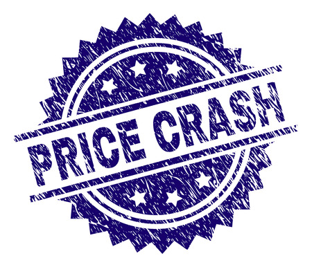 PRICE CRASH stamp seal watermark with distress style. Blue vector rubber print of PRICE CRASH title with grunge texture.