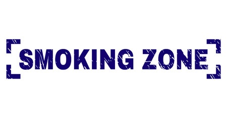 SMOKING ZONE title seal imprint with grunge texture. Text title is placed inside corners. Blue vector rubber print of SMOKING ZONE with dust texture.