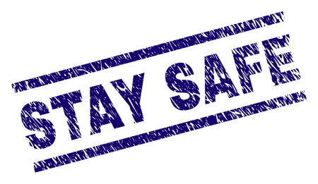 STAY SAFE seal print with distress style. Blue vector rubber print of STAY SAFE text with dirty texture. Text title is placed between parallel lines. Illustration