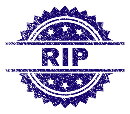 RIP stamp seal watermark with distress style. Blue vector rubber print of RIP label with dirty texture.