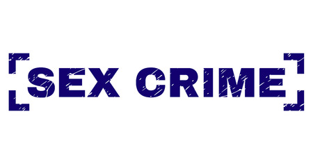 SEX CRIME title seal watermark with corroded texture. Text title is placed inside corners. Blue vector rubber print of SEX CRIME with corroded texture.