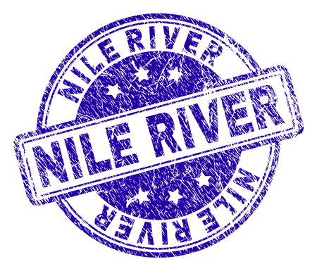 NILE RIVER stamp seal watermark with grunge texture. Designed with rounded rectangles and circles. Blue vector rubber print of NILE RIVER text with dirty texture. Illustration