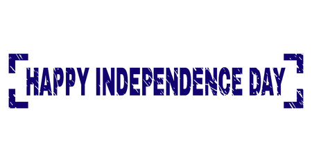 HAPPY INDEPENDENCE DAY text seal print with corroded texture. Text label is placed between corners. Blue vector rubber print of HAPPY INDEPENDENCE DAY with retro texture. 일러스트