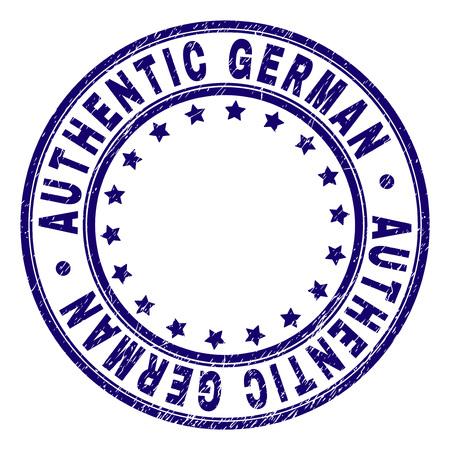 AUTHENTIC GERMAN stamp seal watermark with grunge texture. Designed with circles and stars. Blue vector rubber print of AUTHENTIC GERMAN label with scratched texture. Standard-Bild - 118580075
