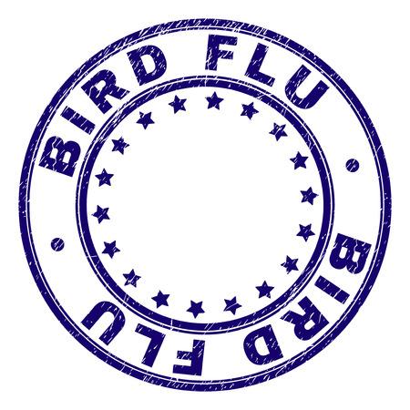BIRD FLU stamp seal imprint with grunge texture. Designed with round shapes and stars. Blue vector rubber print of BIRD FLU caption with grunge texture. Illusztráció