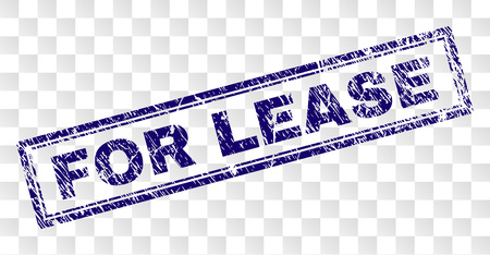 FOR LEASE stamp seal print with dirty style and double framed rectangle shape. Stamp is placed on a transparent background. Blue vector rubber print of FOR LEASE caption with dirty texture.