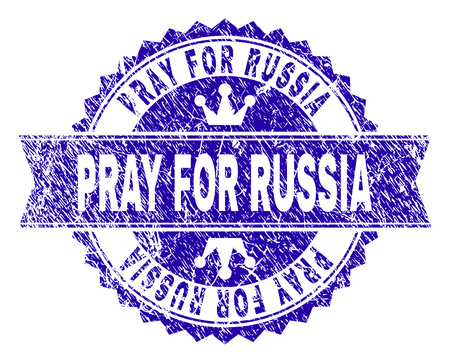 PRAY FOR RUSSIA rosette stamp seal watermark with grunge texture. Designed with round rosette, ribbon and small crowns. Blue vector rubber print of PRAY FOR RUSSIA tag with grunge texture.