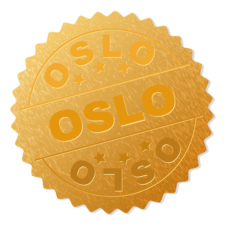 OSLO gold stamp medallion. Vector gold medal with OSLO text. Text labels are placed between parallel lines and on circle. Golden skin has metallic structure.