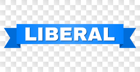LIBERAL text on a ribbon. Designed with white title and blue tape. Vector banner with LIBERAL tag on a transparent background. Çizim