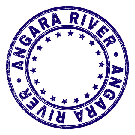 ANGARA RIVER stamp seal watermark with grunge texture. Designed with round shapes and stars. Blue vector rubber print of ANGARA RIVER tag with dust texture. Illustration