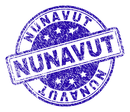 NUNAVUT stamp seal imprint with distress texture. Designed with rounded rectangles and circles. Blue vector rubber print of NUNAVUT title with dust texture. Illustration