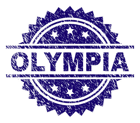 OLYMPIA stamp seal watermark with distress style. Blue vector rubber print of OLYMPIA title with corroded texture.