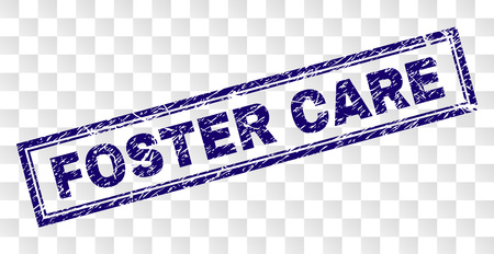 FOSTER CARE stamp seal print with rubber print style and double framed rectangle shape. Stamp is placed on a transparent background. Blue vector rubber print of FOSTER CARE text with unclean texture.