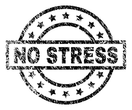 NO STRESS stamp seal watermark with distress style. Designed with rectangle, circles and stars. Black vector rubber print of NO STRESS label with grunge texture. Ilustração